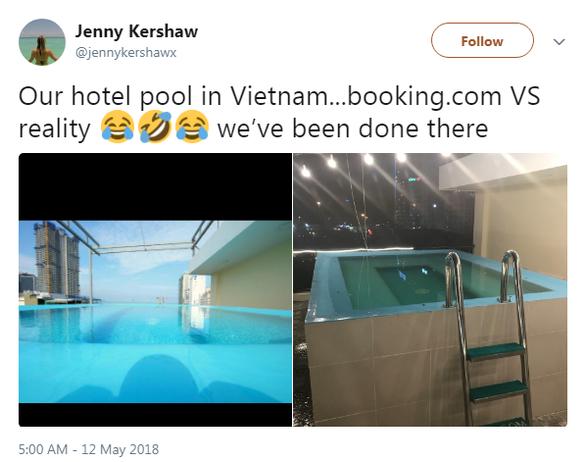 Đặt phòng qua booking, du khách té ngửa hồ bơi chỉ là hồ cá - Ảnh 1.