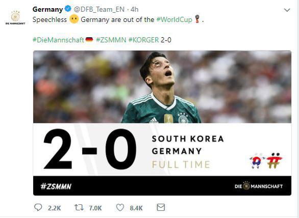 Tuyển Đức thống trị mạng xã hội sau khi bị loại khỏi World Cup - Ảnh 1.