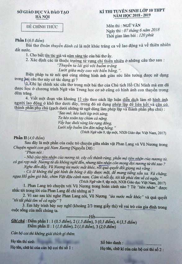Bài giải môn văn thi tuyển sinh lớp 10 Hà Nội - Ảnh 1.