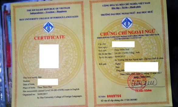 Nhập nhằng cấp chứng chỉ ngoại ngữ B1 vì từ certificate - Ảnh 1.
