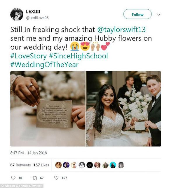 Taylor Swift gửi hoa chúc mừng fan nữ kết hôn đồng giới - Ảnh 2.
