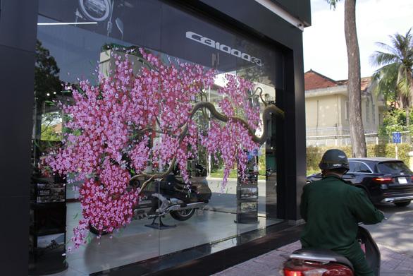 Hoa mai, hoa đào lên kính cửa hàng, công ty đón Tết - Ảnh 4.