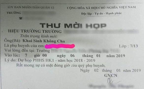 Cô giáo gửi thư mời Khai Sinh Không Cha đã bị xử lý nội bộ - Ảnh 1.