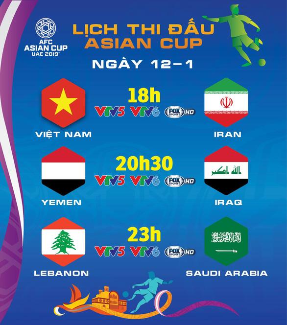 Lịch trực tiếp Asian Cup 2019 ngày 12-1: Việt Nam đấu Iran - Ảnh 1.