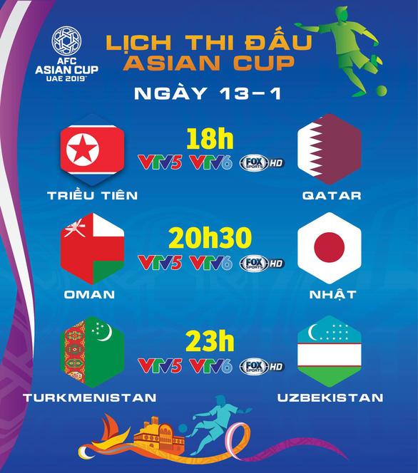 Lịch thi đấu Asian Cup 2019 ngày 13-1 - Ảnh 1.