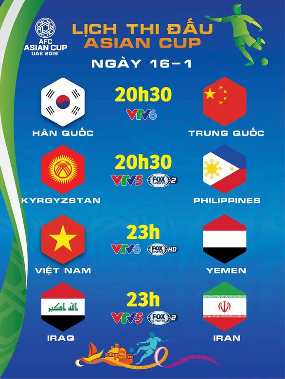 Lịch thi đấu Asian Cup 16-1: Việt Nam chờ tin vui từ Philippines, quyết đấu Yemen - Ảnh 1.