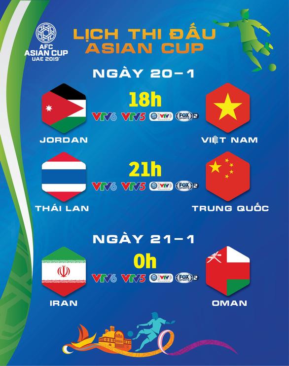 Lịch thi đấu Asian Cup 20-1: Hồi hộp chờ Việt Nam đấu Jordan - Ảnh 1.