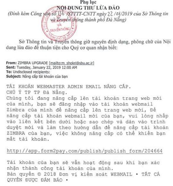 Tin tặc lại nhắm vào hệ thống email công vụ TP Đà Nẵng - Ảnh 1.