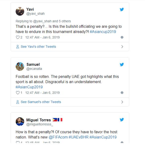 Dân mạng phản ứng pha thổi phạt đền khó hiểu trong trận mở màn Asian Cup 2019 - Ảnh 2.