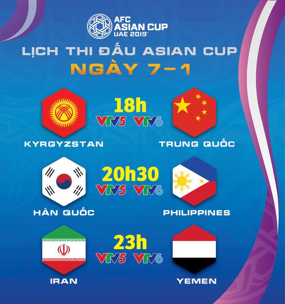 Lịch truyền hình Asian Cup 2019 ngày 7-1 - Ảnh 1.