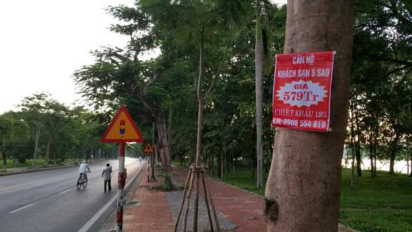 Huế làm mạnh chuyện treo quảng cáo dọc đường: 2 người bị phạt 21 triệu - Ảnh 1.