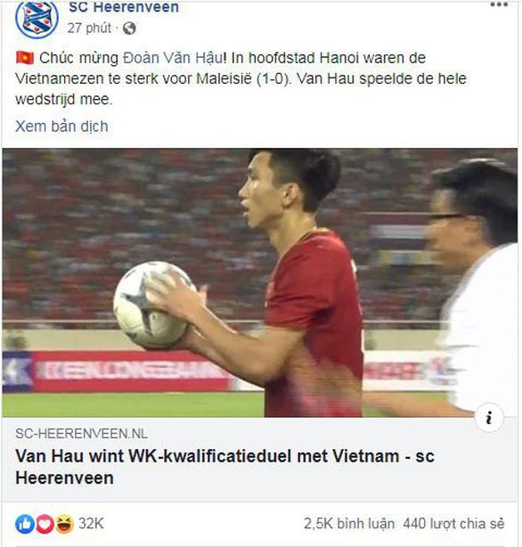 CLB Heerenveen chúc mừng Đoàn Văn Hậu và tuyển Việt Nam - Ảnh 1.