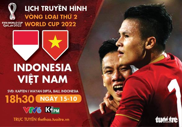 Lịch trực tiếp Indonesia gặp Việt Nam ở vòng loại World Cup 2022 - Ảnh 1.