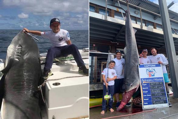Cậu bé 8 tuổi 40kg câu được cá mập hổ 314kg - Ảnh 1.