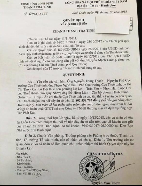 Giáng chức cục trưởng Cục Thuế Bình Định - Ảnh 2.