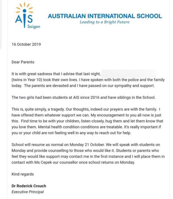 Trường quốc tế tại TP.HCM gửi thư về việc học sinh tự tử - Ảnh 1.