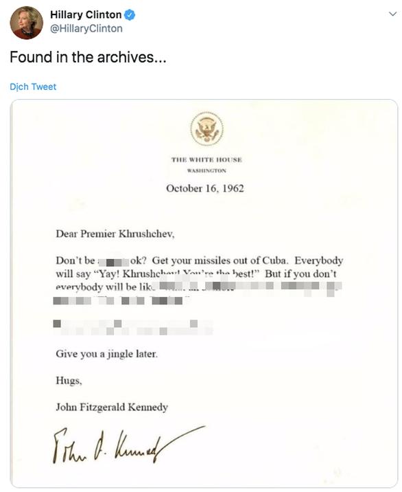 Bà Clinton đăng thư giả mỉa lá thư ông Trump gửi Tổng thống Thổ? - Ảnh 2.