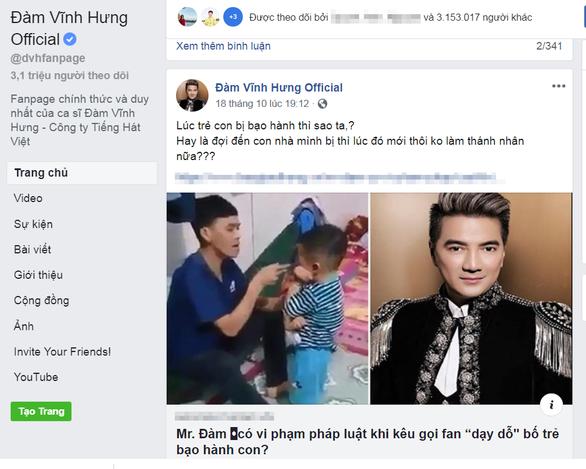 Vụ Facebook Đàm Vĩnh Hưng nghi kích động: người treo thưởng, người đánh đều vi phạm - Ảnh 1.