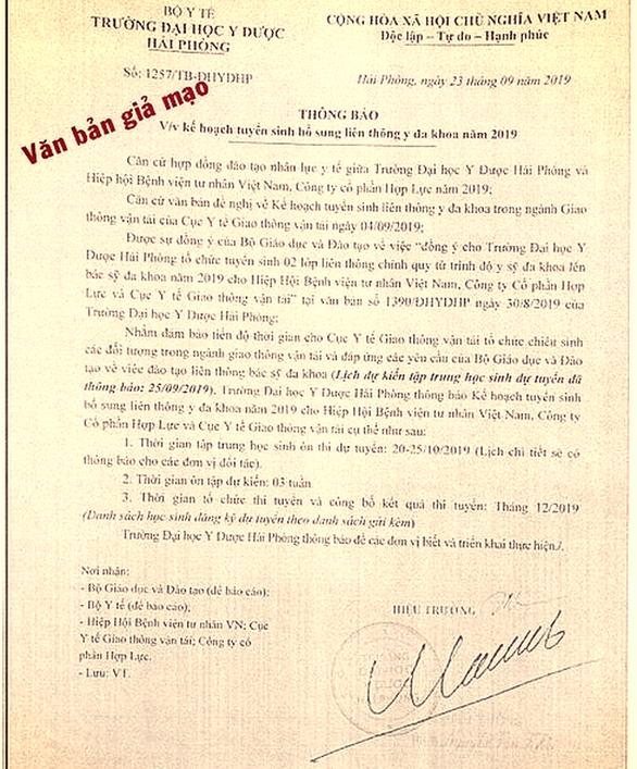ĐH Y dược Hải Phòng cảnh báo người dân đừng tin văn bản giả mạo - Ảnh 1.