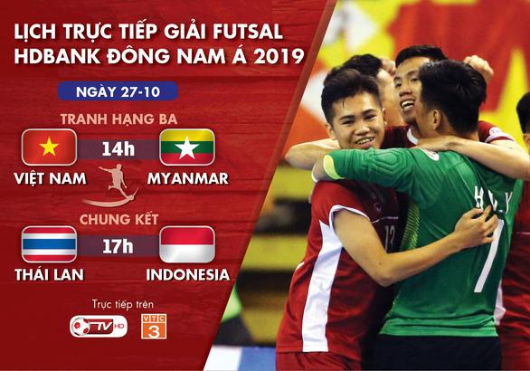 Lịch trực tiếp Giải futsal Đông Nam Á 2019: Việt Nam và Myanmar tranh vé dự giải châu Á - Ảnh 1.