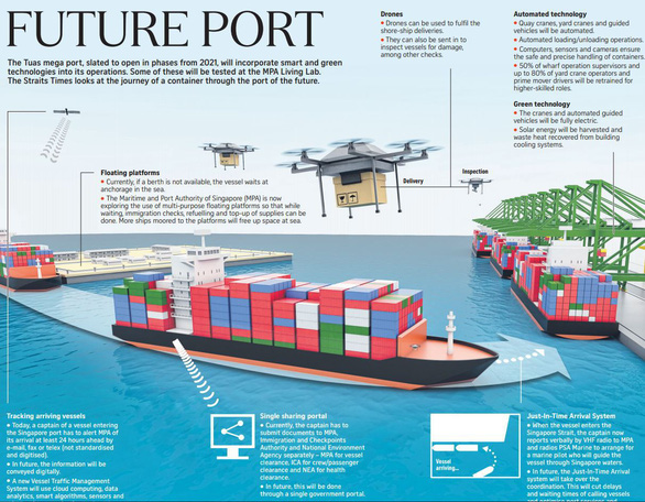 Choáng ngợp với siêu cảng container của Singapore - Ảnh 1.