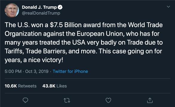 Ông Trump ca ngợi chiến thắng đẹp trong thương mại với châu Âu - Ảnh 2.