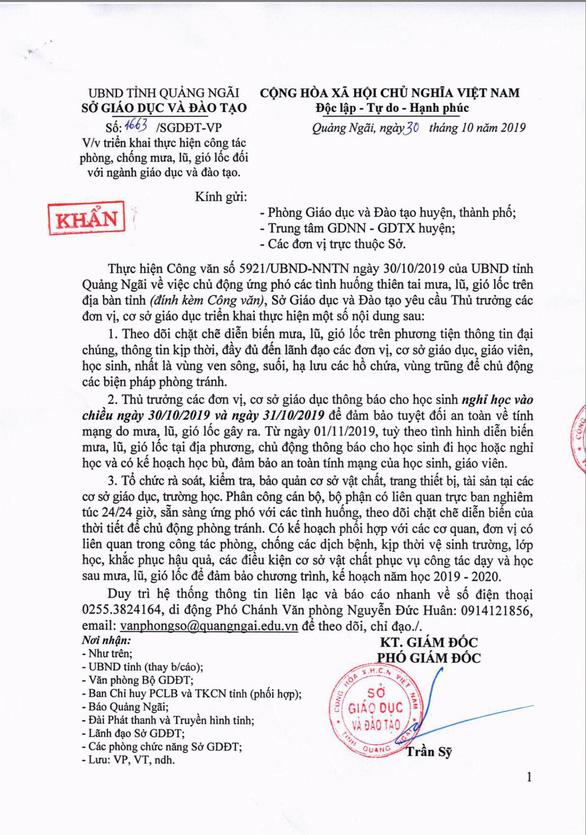 Học sinh Quảng Ngãi nghỉ học chiều 30 và ngày 31 - Ảnh 1.