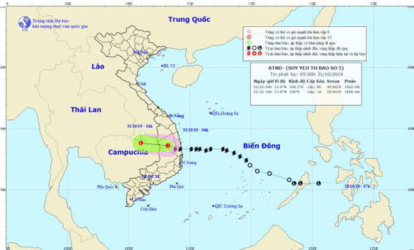 Bão số 5 thành áp thấp nhiệt đới, mưa lớn ở Trung bộ và Tây Nguyên - Ảnh 1.