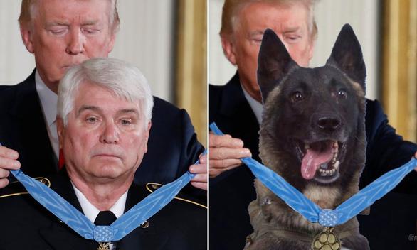 Ông Trump đăng ảnh chỉnh sửa chó nghiệp vụ tiêu diệt trùm IS gây tranh cãi - Ảnh 2.