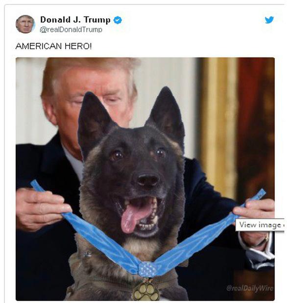 Ông Trump đăng ảnh chỉnh sửa chó nghiệp vụ tiêu diệt trùm IS gây tranh cãi - Ảnh 1.