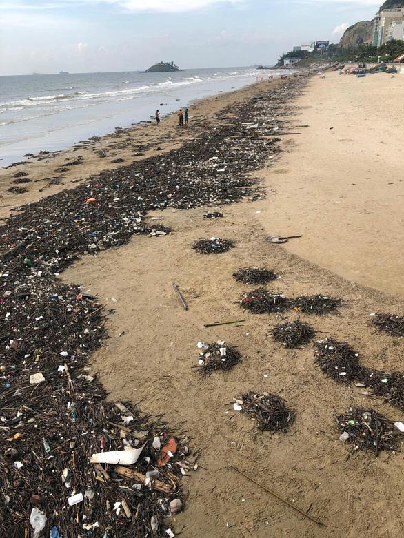 10 cây số rác, thân cây và nhựa tấn công bãi biển Vũng Tàu - Ảnh 3.