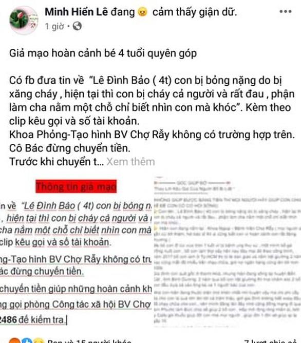 BV Chợ Rẫy: Không có bệnh nhi Lê Đình Bảo, đừng chuyển tiền cho trang Facebook lừa đảo - Ảnh 1.