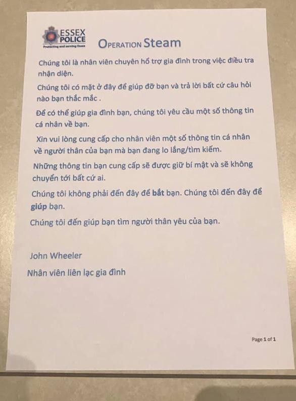 Cảnh sát Anh thuyết phục người Việt ở Anh đưa ra manh mối vụ 39 thi thể trong container - Ảnh 1.