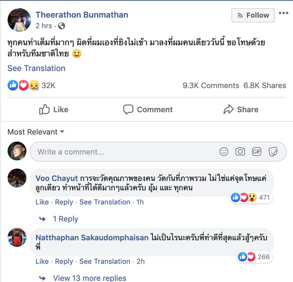 Theerathon Bunmathan nói gì trên Facebook sau khi bị Văn Lâm cản phạt đền? - Ảnh 1.