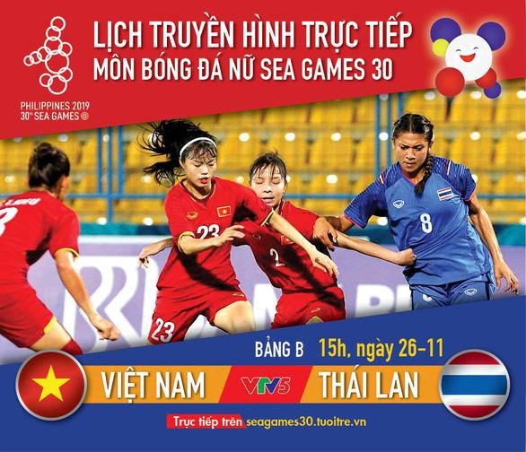 Lịch trực tiếp nữ Việt Nam gặp Thái Lan ở SEA Games 2019 - Ảnh 1.