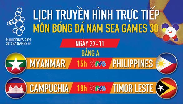 Lịch trực tiếp bóng đá nam SEA Games 27-11: Tâm điểm Myanmar gặp Philippines - Ảnh 1.