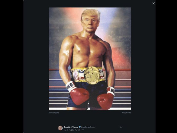 Ông Trump gây tranh cãi khi đăng hình cơ thể cơ bắp boxing trên Twitter - Ảnh 1.