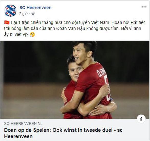 CLB Heerenveen hoan hô Việt Nam và tiếc vì Đoàn Văn Hậu bị từ chối bàn thắng - Ảnh 1.