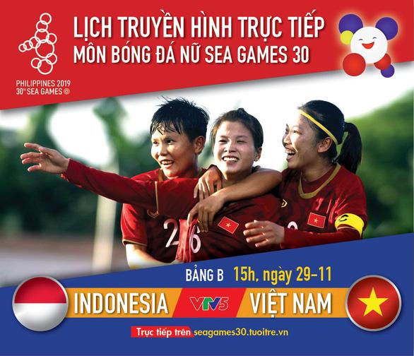 Lịch thi đấu tuyển nữ Việt Nam gặp Indonesia tại SEA Games 2019 - Ảnh 1.