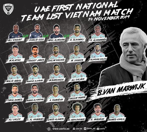 UAE công bố đội hình trận gặp Việt Nam, vắng ba trụ cột - Ảnh 1.