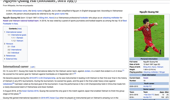Quang Hải khoác áo CLB của Malaysia trên Wikipedia - Ảnh 2.