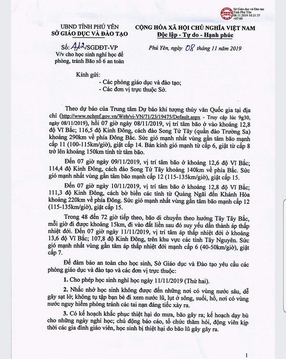 Phú Yên cho học sinh nghỉ ngày 11-11, cấm biển từ ngày 9 để tránh bão số 6 - Ảnh 1.