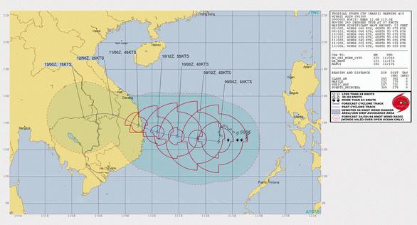 Bão số 6 ảnh hưởng trực tiếp ven biển Quảng Ngãi - Khánh Hòa từ chiều tối 10-11 - Ảnh 1.