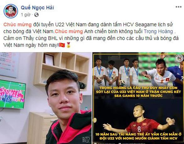 Văn Hậu khoe ảnh nhận huy chương, Trọng Hoàng cảm ơn CĐV trên Facebook - Ảnh 3.