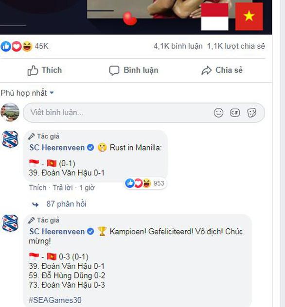 CLB Heerenveen của Đoàn Văn Hậu: Chúc mừng Việt Nam vô địch - Ảnh 2.