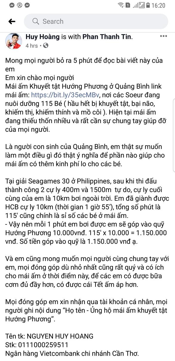 Huy Hoàng dùng chiếc huy chương cuối cùng ở SEA Games 2019 để làm từ thiện - Ảnh 2.