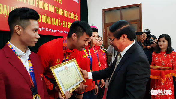 Hải Phòng thưởng nóng thủ môn Văn Toản và các VĐV đoạt huy chương SEA Games - Ảnh 1.