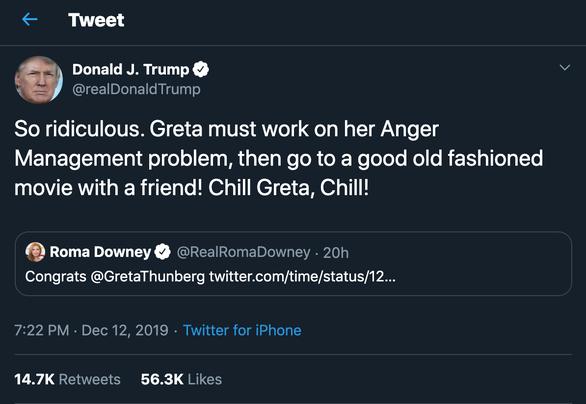 Ông Trump đá xéo Nhân vật của năm 2019 Greta Thunberg - Ảnh 2.