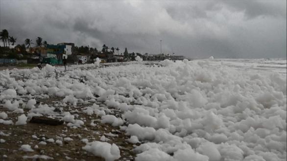 Xem cảnh cả bãi biển chìm trong bọt trắng xóa - Ảnh 3.
