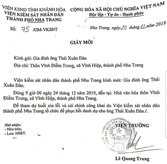 Đầu tuần tới, viện kiểm sát sẽ xin lỗi người 18 năm mang thân phận bị can oan ở Nha Trang - Ảnh 1.